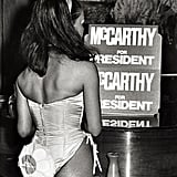 A bunny attends a fundraising dinner for Eugene McCarthy at the Beverly Hills location in 1968.