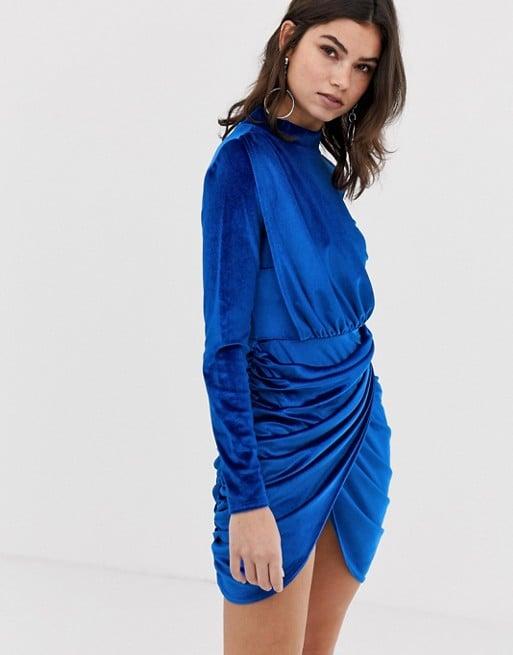 Boohoo Velvet Ruched Wrap Front Mini Dress