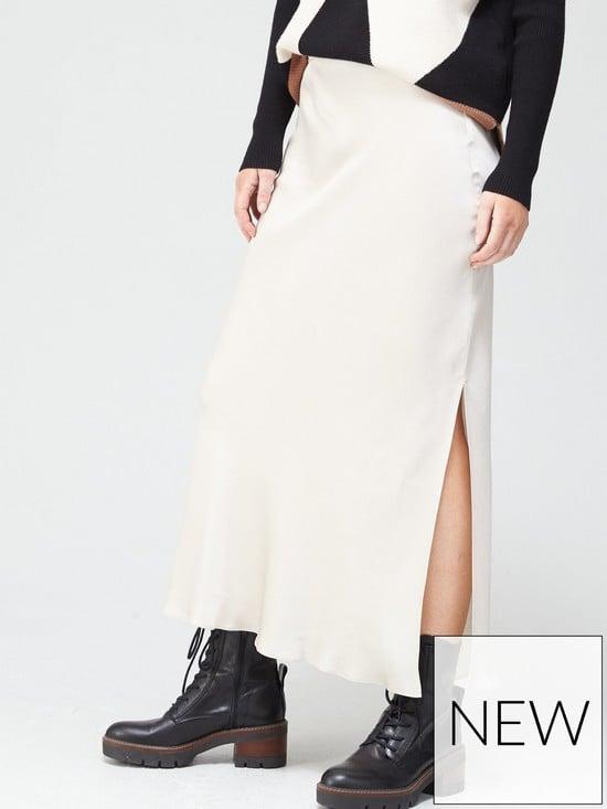 River Island Side Split Satin Midi Skirt