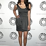 Nina is able to easily transition into super-sophisticated looks. Case in point: this chic grey sheath styled with peep-toe pumps she wore to Paley Fest in 2010.