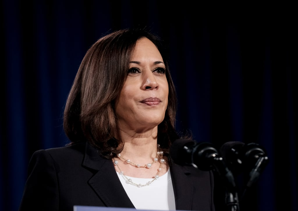 Kamala double-looped this Irene Neuwirth chainlink pearl necklace for a campaign event as Democratic vice presidential nominee in August 2020.