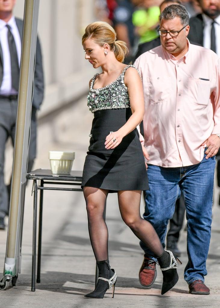 Scarlett Johansson Wearing Sophia Webster Sock Boots and a Miu Miu Dress