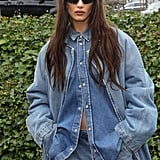 Bella Hadid Denim-on-Denim Outfit Paris Fashion Week Photos