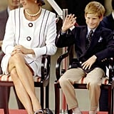 In 1995, Harry slipped his shoes off while attending a royal event with his mother, Princess Diana.