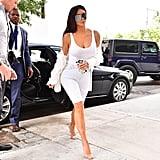 Kim Wearing White Bermuda Shorts in NYC