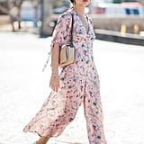 Try dressing down a whimsical printed shirt dress with classic white low-tops.