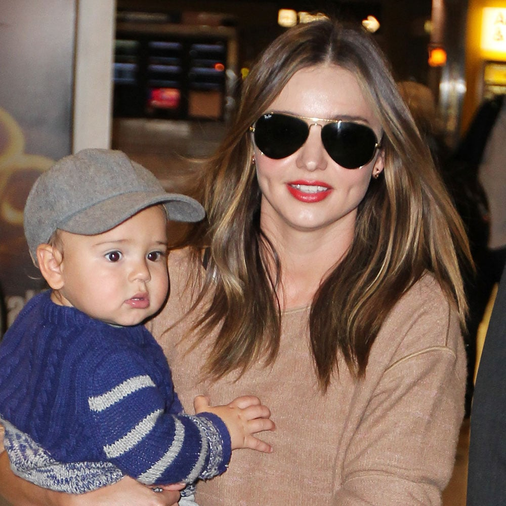 Again at the airport but this time with baby Flynn.
