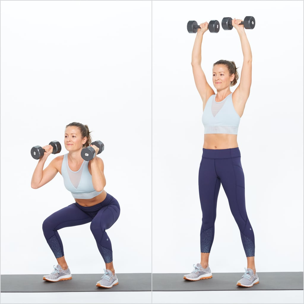 dumbbell thrusters hiit workout for weight loss