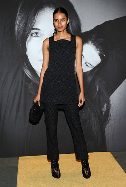 Givenchy model Lakshmi Menon chose a simpler pant look from Fall '10.