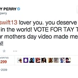 May 4, 2009: Katy Tweets at Taylor