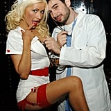 Christina Aguilera celebrated as a sexy nurse with Jordan Bratman in Las Vegas in 2005.