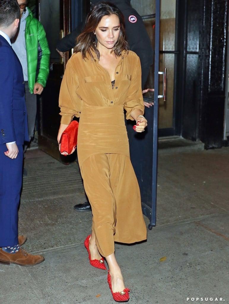 Victoria Beckham Red Tweed Heels November 2018