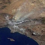 A NASA satellite image showed how a major fire near former host city Los Angeles looked from space.