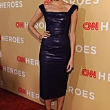 The opulent purple jewel tone of L'Wren Scott's lacquer tweed dress was a perfect fit for Allison Williams at the 2013 CNN Heroes: An All Star Tribute.