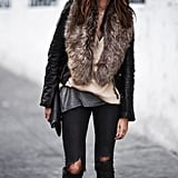 Winterize a Leather Jacket by Adding a Furry Scarf