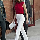 Queen Letizia's Red and White Look