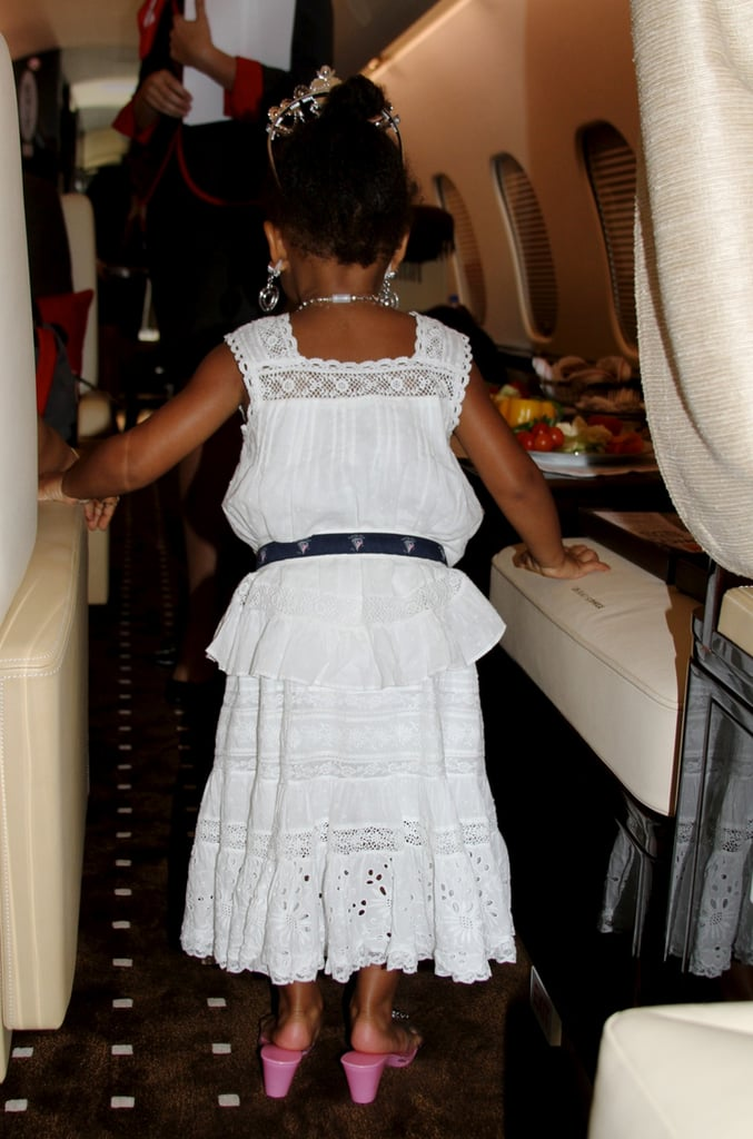 Blue slipped into Beyoncé's heels aboard their flight.  Source: Beyonce.com