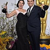 "EGOT winner Robert Lopez and his wife, Kristen Anderson-Lopez, were adorable after accepting their best original song award for ""Let It Go"" from Frozen."