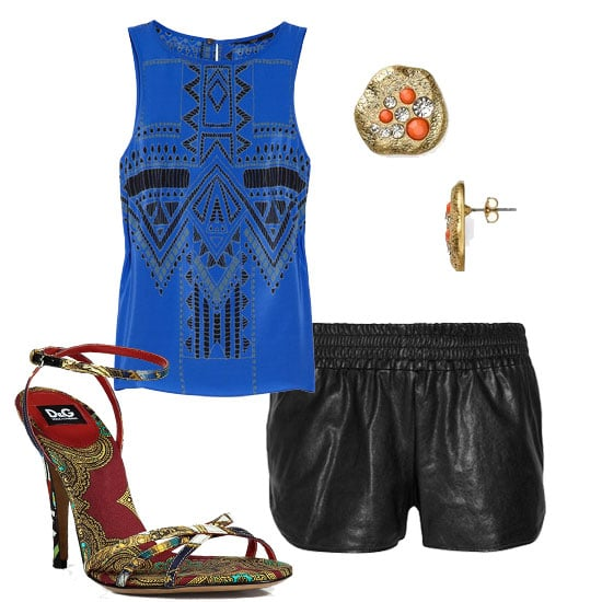We're giving this tribal-print top an athletic twist via leather track shorts, then finish the look with sexy heels and stud earrings.  Tibi Printed Silk Top ($275), D&G Dolce & Gabbana Multicolor Ankle Strap Sandals ($385), Aqua Coral Crystal Button Studs ($20), Haute Hippie Leather Shorts ($395)