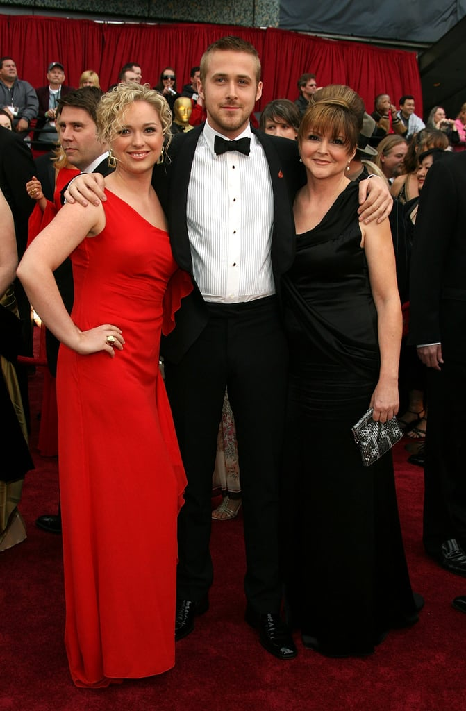 """Ryan Gosling, nominated for his role in """"Half Nelson"""", attended the 2007 Oscars with sister Mandi and mother Donna."""