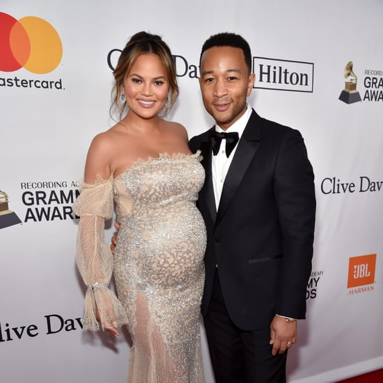 Chrissy Teigen Wearing Cream Off-the-Shoulder Gown
