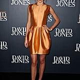 Miranda put her own spin on the metallic trend, donning a high-shine Ellery mini and no-fuss topknot in Sydney.