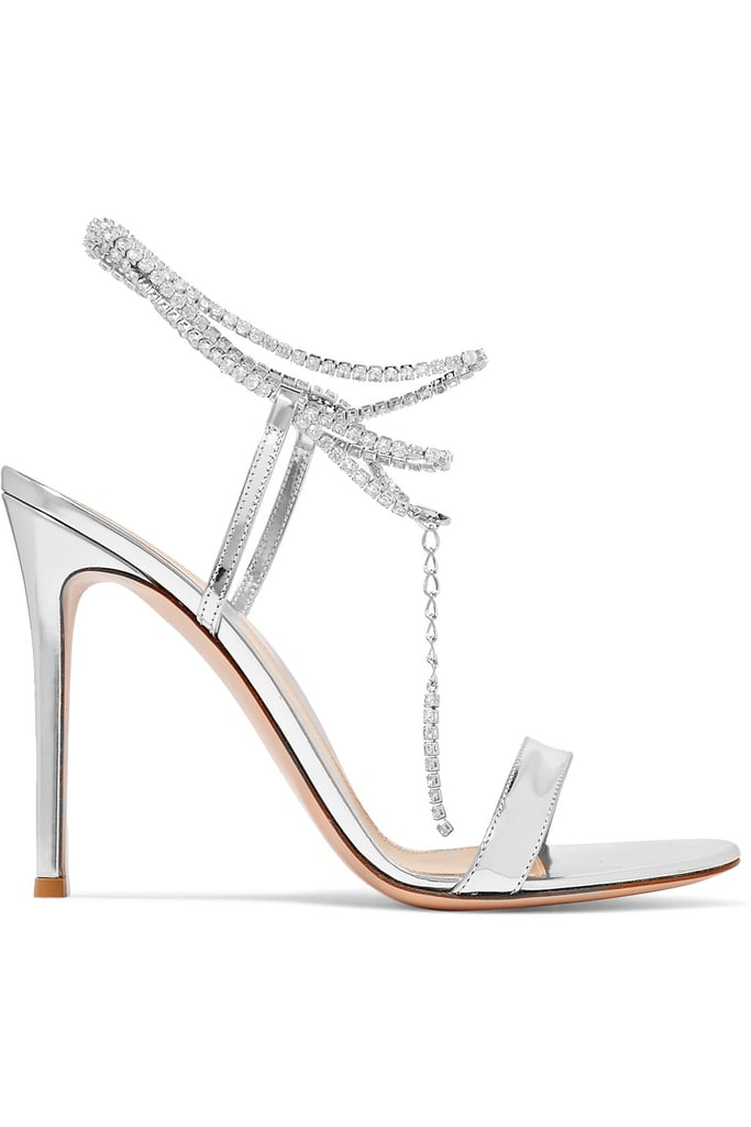 Gianvito Rossi Tennis 105 Cystal-Embellished Metallic Patent-Leather Sandals
