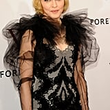 Madonna had puffy, sheer sleeves on her Marchesa dress.