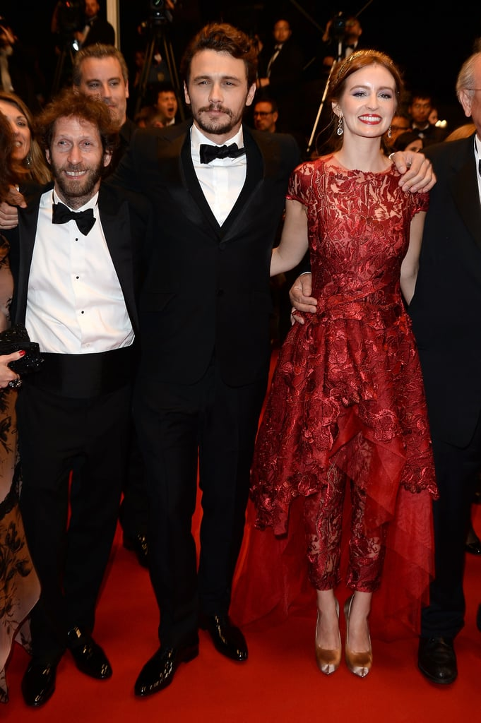"""James Franco hit the red carpet at the Cannes Film Festival last night with his ex-girlfriend and current costar Ahna O'Reilly to premiere their new project, As I Lay Dying. The two were joined by costar Tim Blake Nelson as well as Rosario Dawson, who doesn't star in the film but does share a connection with James as they have both worked with Harmony Korine. (James starred in Harmony's most recent film, Spring Breakers, while Rosario made her film debut in 1995's Kids, which Harmony cowrote.) The premiere was a big deal for James, who also directed the movie. We caught up with Ahna earlier this week in Cannes, where she talked about how excited she was that James asked her to take on the female lead after the two had broken up. She said, """"I knew James could get any number of actresses to play that role,"""" adding, """"I think he did a tremendous job and I'm so proud of it and proud of him.""""  Ahna also premiered her new project, Fruitvale Station, at Cannes earlier this week — be sure to check out Ahna, James, and all the other celebrities at the Cannes Film Festival!"""