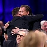 Leonardo DiCaprio and Jonah Hill hugged adorably.