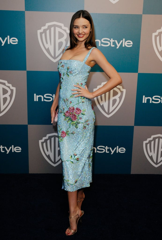 Miranda Kerr sparkled in a blue sequin dress at InStyle's Golden Globes after party.
