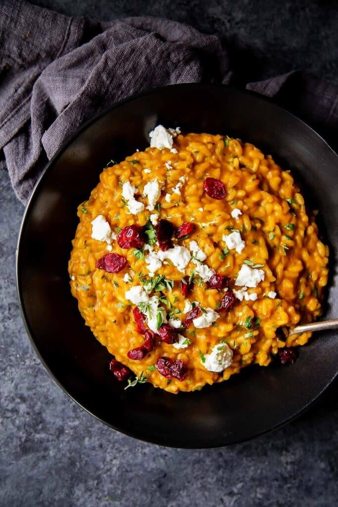 Pumpkin Risotto With Goat Cheese and Dried Cranberries