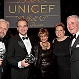 Michael Douglas and Matt Damon posed with their awards alongside Behind the Candelabra executive producer Jerry Weintraub and UNICEF's Caryl Stern and Dena Kaye.