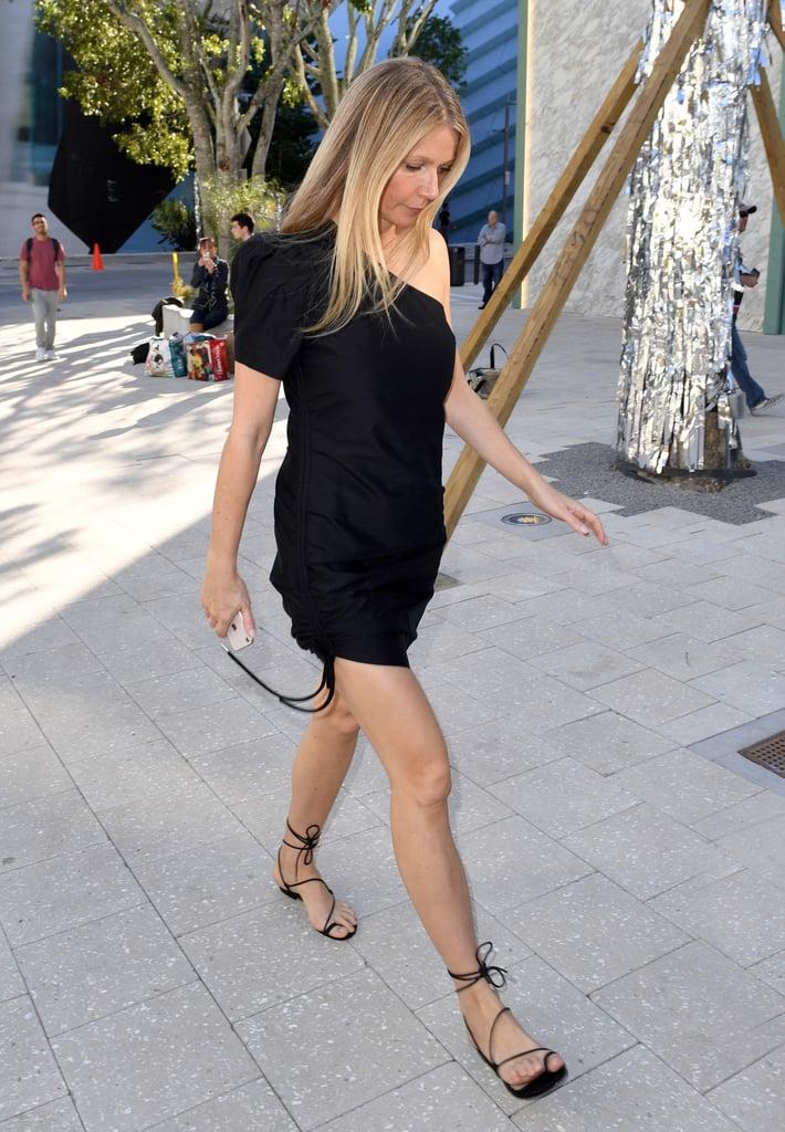 Gwyneth Paltrow Black Ankle-Wrap Sandals