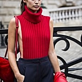 Sara Sampaio Wearing a Revealing Red Turtleneck