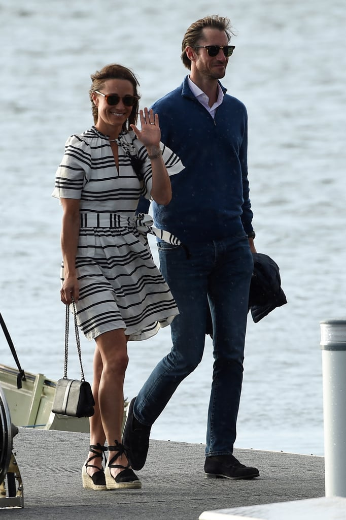 Pippa Middleton Wore a Pair of Tie-Up Espadrille Wedges