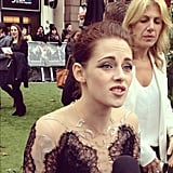 We caught Kristen Stewart midsentence at her London premiere of Snow White and the Huntsman.