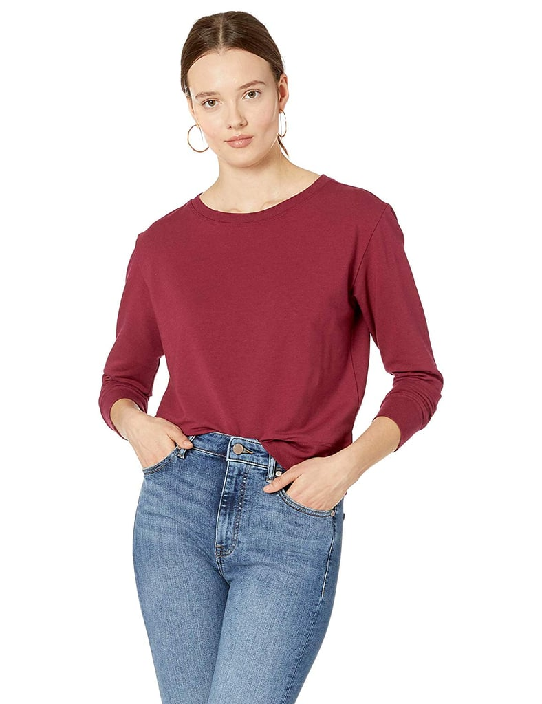 The Drop Annabelle Long-Sleeved Crewneck Supersoft Stretch Pullover