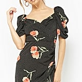 Polka Dot & Floral Print Surplice Dress