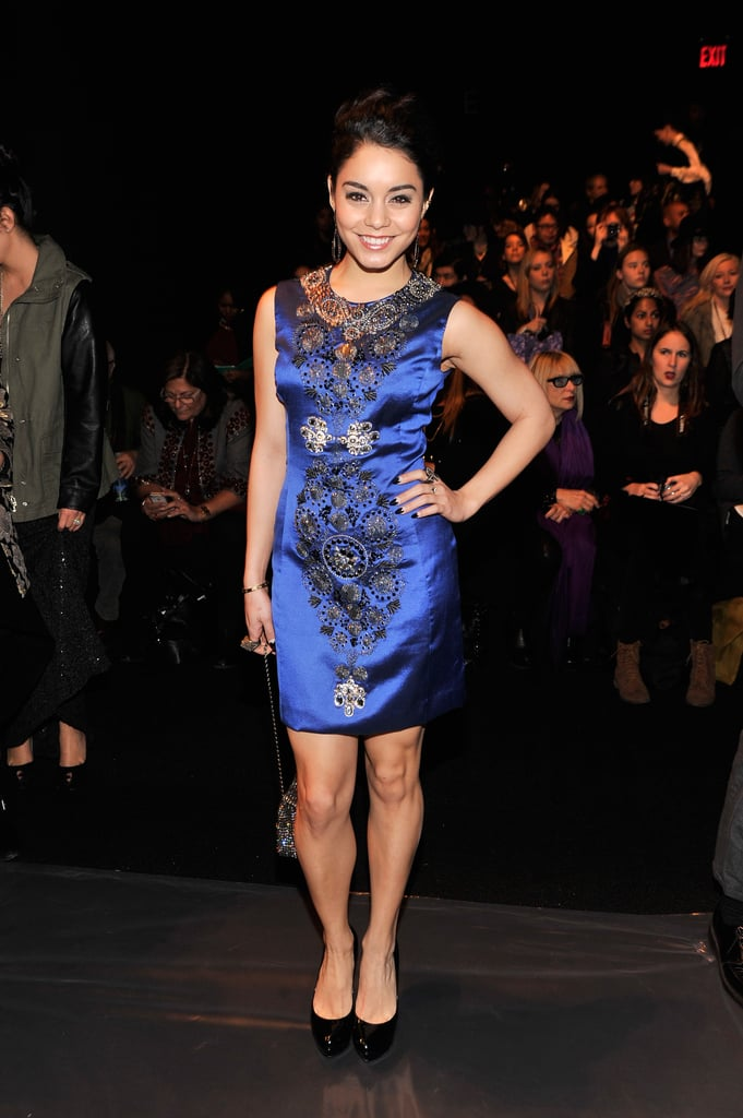 Vanessa Hudgens was all smiles working an embroidered cobalt sheath at Naeem Khan.