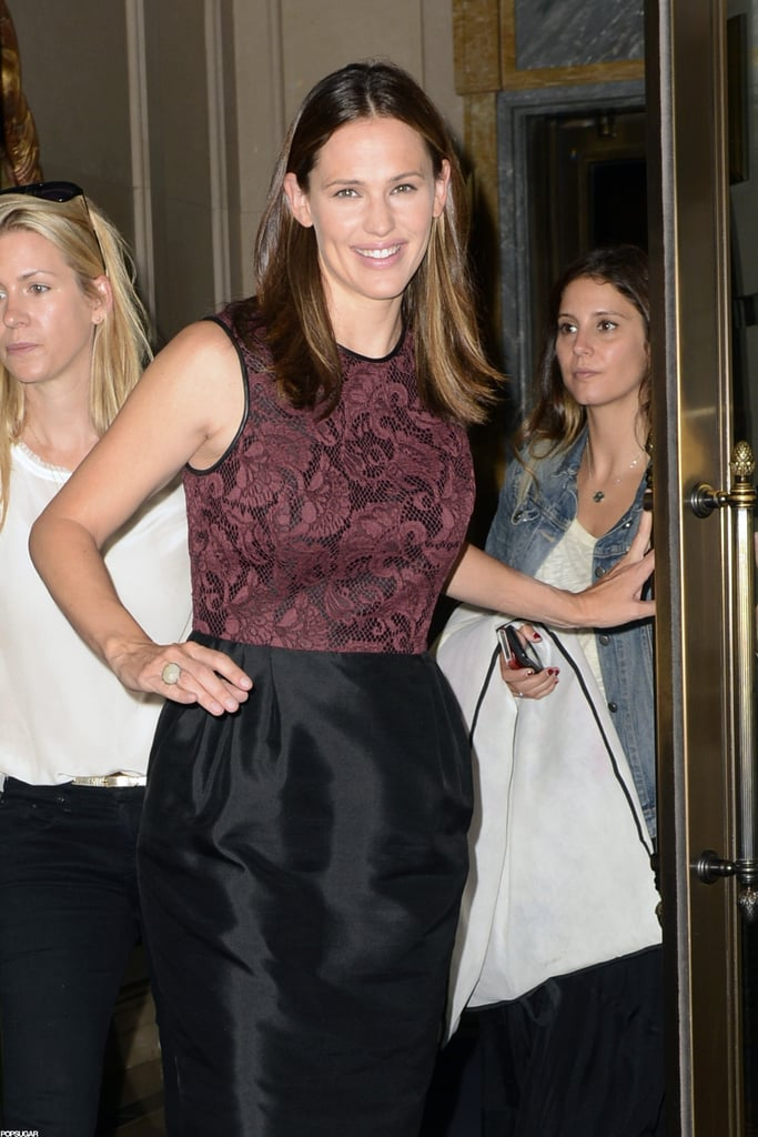 Jennifer Garner smiled while leaving her hotel in NYC.