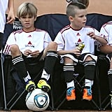 Romeo and Cruz Beckham showed off their neon cleats.