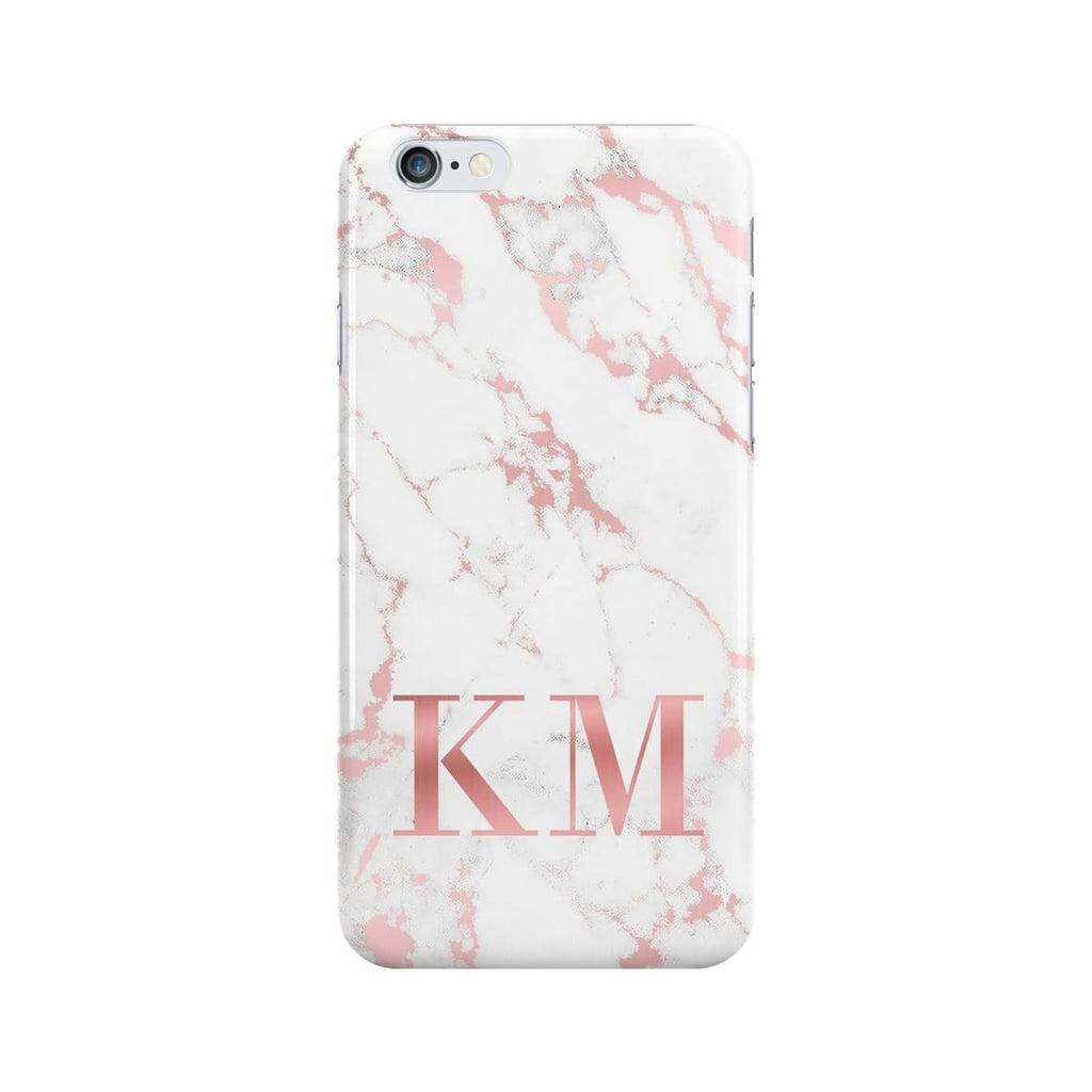 Personalized Initials Rose Gold Marble Phone Case