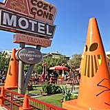 The cones at Cozy Cone Motel become Jack-O'-Lanterns.