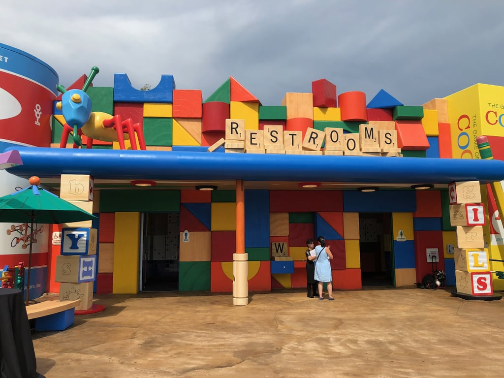 The restrooms, located at the back of the land.