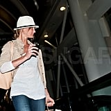 Cameron Diaz checked her phone upon touching down at LAX.
