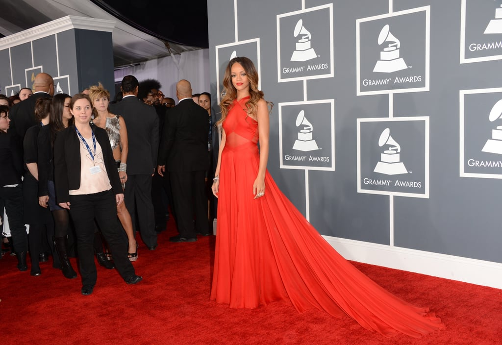rihanna pictures in red alaid dress at 2013 grammy awards