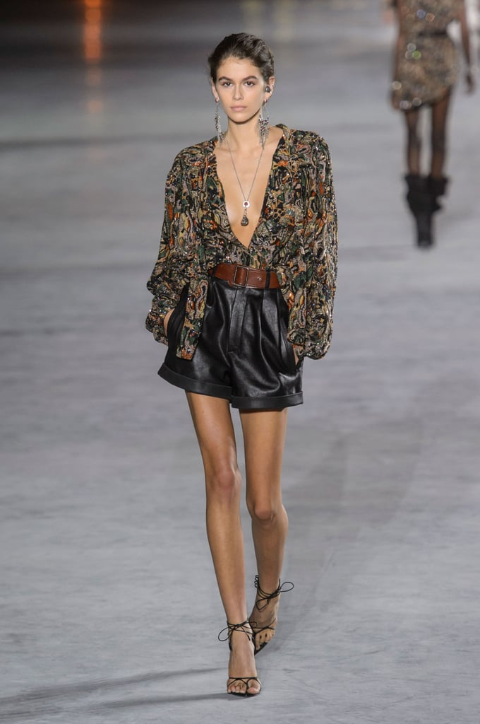 Kaia Walked Down the Saint Laurent Runway in Leather Shorts