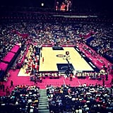 Shawn Johnson had a great view of the basketball court.  Source: Instagram user shawnjohnson