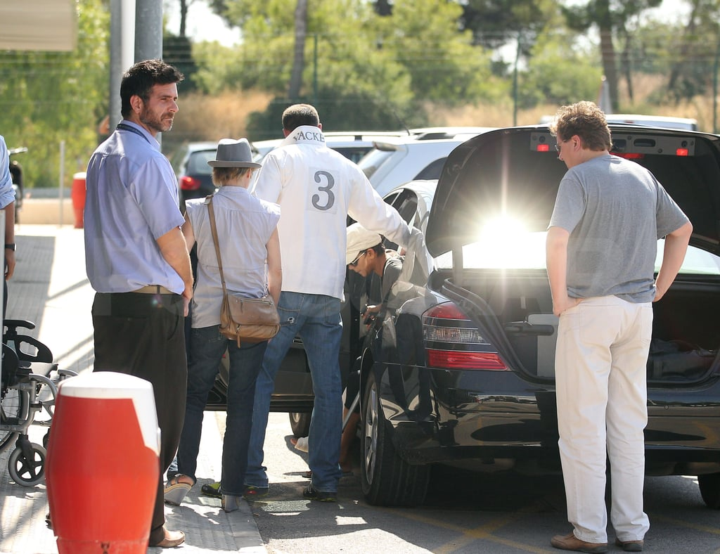 Halle Berry had help getting out of the car.